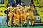 Shaun Byrne (#6) of Livingston FC (smiling) is congratulated by his tea mates after scoring during the Ladbrokes Scottish Premiership match between Livingston FC and Heart of Midlothian FC at the Tony Macaroni Arena, Livingston, Scotland on 14 December 2018.