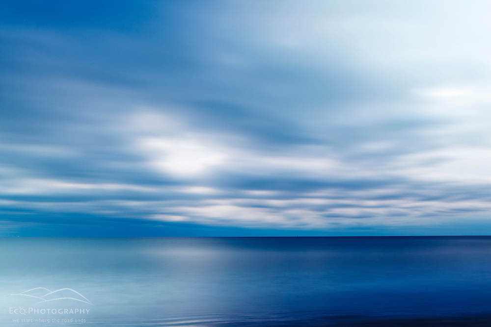 Clouds over the Atlantic Ocean at Wallis Sands State Park in Rye, New Hampshire.