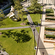 Spurlock Landscape Architects (landscape designers for The Getty) designed this intimate open space on the University of California San Diego. This academic courtyard is bordered by three buildings created by architectural giants: NBBJ, Bohlin Cywinski Jackson & CO Architects. A Tim Hawkinson sculpture anchors the center of the courtyard. Spurlock Landscape Architects, University of California, San Diego Architectural Photographer, Southern California Architectural Photographer