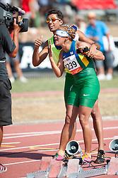 GUILHERMINA Terezinha Guide: SANTANA Guilherme, BRA, 200m, T11, 2013 IPC Athletics World Championships, Lyon, France