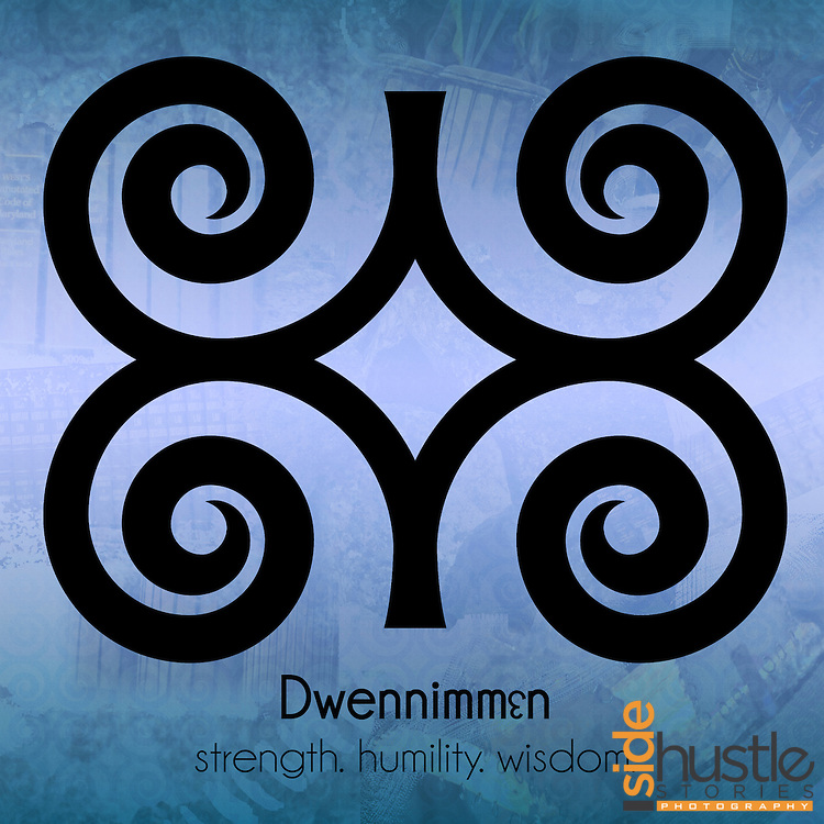 """Dwennimmɛn - strength. humility. wisdom. <br /> <br /> <br /> This sky blue poster features the Adinkra symbol Dwennimmɛn, which represents the combination of strength, wisdom, learning and humility. The literal translation* of the word Dwennimmɛn in Akan is """"ram's horns"""", but the symbolic meaning of Dwennimmɛn can not be limited to a single word. Adinkra symbols are West African designs that have represented elements of Ghanaian values and culture for hundreds of years. <br /> <br /> <br /> *Literal translation from the book: """"The Adinkra Dictionary - A Visual Primer on the Language of Adinkra"""" and my parents. Akan (or Twi) is spoken in both Ghana and Côte d'Ivoire."""