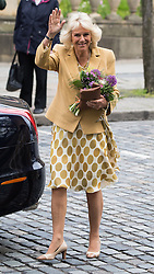 © Licensed to London News Pictures . 14/05/2015 . Liverpool , UK . THE DUCHESS OF CORNWALL waves as she leaves . The Prince or Wales and the Duchess of Cornwall visit the World Museum in Liverpool . Photo credit : Joel Goodman/LNP