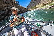 The one time Olympic rower, Seda Witten, takes the rapids with ease and excitement as we make our way down the Middle Fork of the Salmon in Idaho's Frank Church Wilderness.