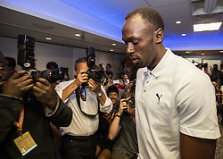 © Licensed to London News Pictures. 23/07/2015. London, UK. Usain Bolt arriving at a press conference in London ahead of his Sainsbury's Anniversary Games appearances tomorrow, at the Queen Elizabeth Olympic Park. Photo credit : James Gourley/LNP