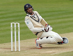Middlesex's Steven Finn ducks out the way of a short ball - Photo mandatory by-line: Robbie Stephenson/JMP - Mobile: 07966 386802 - 04/05/2015 - SPORT - Football - London - Lords  - Middlesex CCC v Durham CCC - County Championship Division One