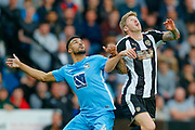 Coventry City defender Jordan Willis (4) and Notts County forward Jonathan Stead (30) in action  during the EFL Sky Bet League 2 match between Notts County and Coventry City at Meadow Lane, Nottingham, England on 18 May 2018. Picture by Simon Davies.