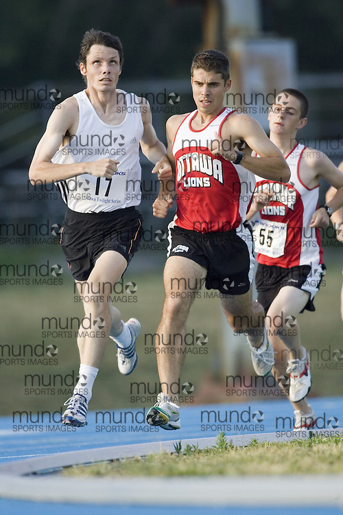 Jason Dunkerly running the 1000m in the third of the 2007 Ottawa Twilight meets.