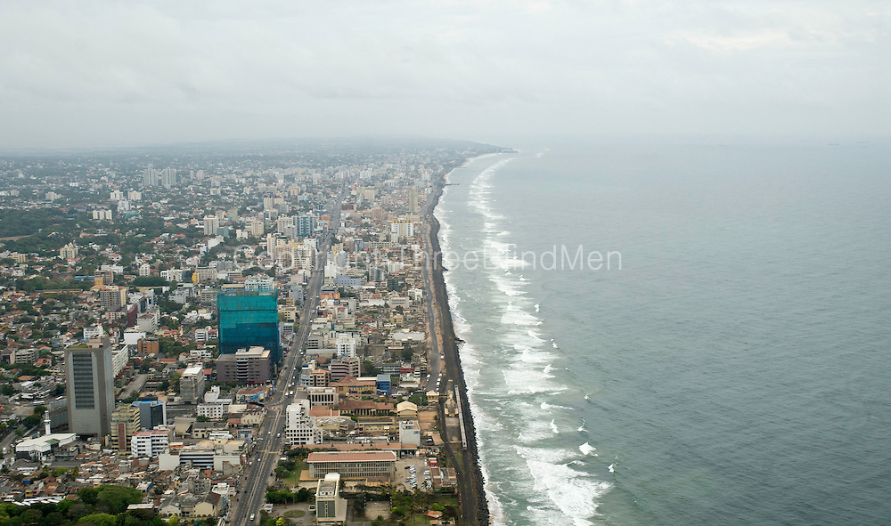 Aerial Images of Colombo, Sri Lanka. Coastline at Kollupitiya looking south from Galle Face.
