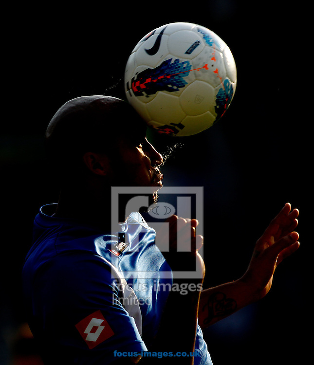 Picture by Andrew Tobin/Focus Images Ltd. 07710 761829. 23/10/11. Fitz Hall (5) of QPR heads the ball in warm up before the Barclays Premier League match between QPR and Chelsea at Loftus Road, London.