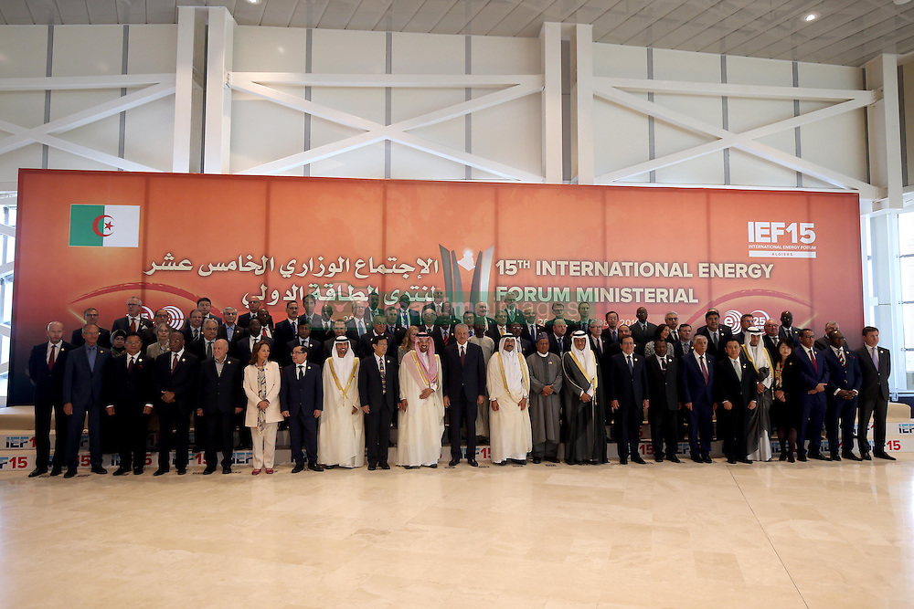 September 27, 2016 - Algiers, Algeria - Algerian Prime Minister Abdelmalek Sellal (C) poses with oil ministers from OPEC member states and other officials attending the opening session of the 15th International Energy Forum in Algiers on September 27, 2016. Oil prices rose modestly ahead of a meeting of producers from the Organization of the Petroleum Exporting Countries (OPEC) cartel and Russia in Algeria on September 28 that could agree to cap supplies. (Credit Image: © Billal Bensalem/NurPhoto via ZUMA Press)