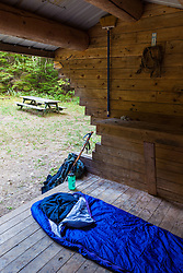 The Grand Pitch lean-to on the International Appalachian Trail east of Baxter State Park in Maine's northern forest.
