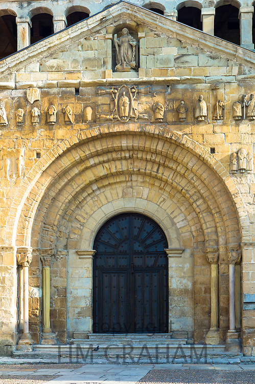Doorway of Colegiata Santillana, St Juliana's Collegiate Church, in Santillana del Mar, Cantabria, Northern Spain