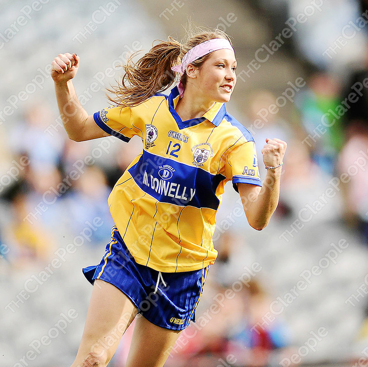 27 September 2009; Eimear Considine, Clare, celebrates after scoring her side's second goal. TG4 All-Ireland Ladies Football Intermediate Championship Final, Clare v Fermanagh, Croke Park, Dublin. Picture credit: Stephen McCarthy / SPORTSFILE *** NO REPRODUCTION FEE ***
