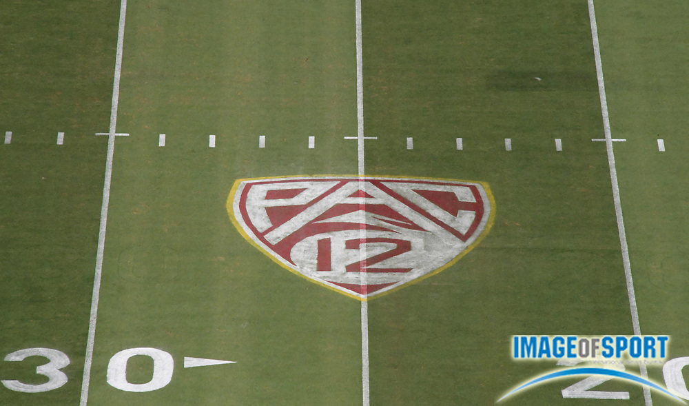 Sep 9, 2017; Los Angeles, CA, USA; General overall view of the Pac-12 Conference logo on the field during a NCAA football game between the Southern California Trojans and the Stanford Cardinal at Los Angeles Memorial Coliseum.