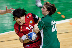 Liudmila Bodnieva of Krim vs Vesna Pus of Olimpija at handball Slovenian cup Finals match  between RK Olimpija and RK Krim Mercator, on March 28, 2010, SD Leon Stukelj, Novo mesto, Slovenia. (Photo by Vid Ponikvar / Sportida)