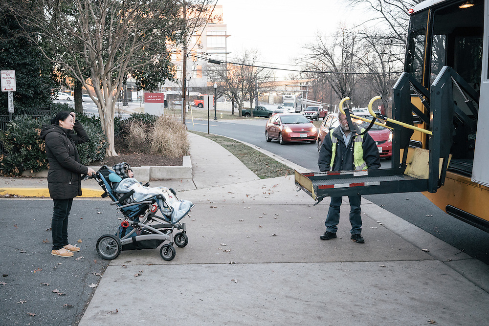 Eufronia Alba brings her son, Joshua, 10, to the schoolbus at her apartment in Arlington, Va. on Dec. 15, 2016. Alba and her husband, undocumented Bolivians, were in deportation proceedings but have requested cancellation of removal because Joshua, who is American-born, has cerebal palsy and depends on his parents for everything including bathing and feeding. CREDIT: Greg Kahn / GRAIN for the Wall Street Journal TRUMPLOOP