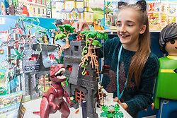 Playmobil's Hidden Temple with T-Rex retails for £49.99. Ahead of Christmas the Dream Toys exhibition at St Mary's Church in Marylebone, London showcases the hottest toys in the market including the top twelve. London, November 14 2018.