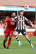 Notts County forward Jonathan Stead (30) and Crawley Town defender Joe McNerney (22) during the EFL Sky Bet League 2 match between Crawley Town and Notts County at the Checkatrade.com Stadium, Crawley, England on 27 August 2016. Photo by Andy Walter.