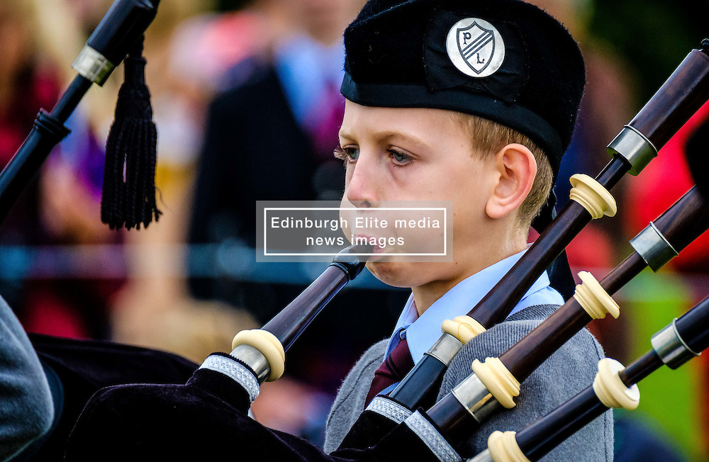 Peebles, Scotland UK  3rd September 2016. Peebles Highland Games, the biggest 'highland' games in the Scottish  Borders took place in Peebles on September 3rd 2016 featuring pipe band contests, highland dancing competitions, haggis hurling, hammer throwing, stone throwing and other traditional events.<br /> <br /> Pictured:  a young piper warms up before the competition<br /> <br /> (c) Andrew Wilson   Edinburgh Elite media