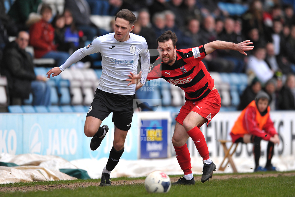 TELFORD COPYRIGHT MIKE SHERIDAN  Ryan Barnett of Telford takes on Michael Liddle during the Vanarama Conference North fixture between AFC Telford United and Darlington at The New Bucks Head on Saturday, March 7, 2020.<br /> <br /> Picture credit: Mike Sheridan/Ultrapress<br /> <br /> MS201920-049