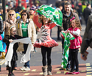 A girl practices her Irish dancing before the St Patrick's Day Parade in Westminster, London.<br /> Picture by Paul Davey/Focus Images Ltd +447966 016296<br /> 13/03/2016