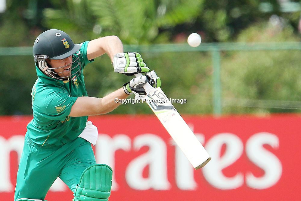 AB de Villiers during the ICC Twenty 20 World Cup warm up match between New Zealand and South Africa held at the Colts Cricket Club in Colombo, Sri Lanka on the 17th September 2012<br /> <br /> Photo by Ron Gaunt/SPORTZPICS/PHOTOSPORT