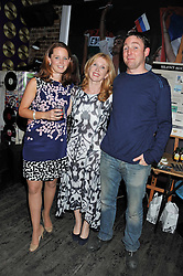 Left to right, LAURA WALFORD, ANNA HUNTER and JAMES HUNTER at a party in aid of the Sebastian Hunter Memorial Trust held at Bunga Bunga, 37 Battersea Bridge Road, London SW11 on 21st June 2012.