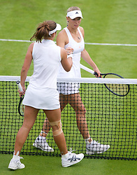26.06.2013, Wimbledon, London, ENG, WTA Tour, The Championships Wimbledon, Tag 3, im Bild Petra Cetkovska (CZE) and Caroline Wozniacki (DEN) during three one of the WTA Tour Wimbledon Lawn Tennis Championships at the All England Lawn Tennis and Croquet Club, London, Great Britain on 2013/06/26. EXPA Pictures © 2013, PhotoCredit: EXPA/ Propagandaphoto/ David Rawcliffe<br /> <br /> ***** ATTENTION - OUT OF ENG, GBR, UK *****