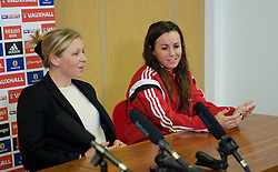CARDIFF, WALES - Thursday, February 19, 2015: Wales women's team manager Jayne Ludlow and vice-captain Natasha Harding during a press conference ahead of the 2015 Istria Cup at the FAW HQ in Cardiff. (Pic by Carl Robertson/Propaganda)