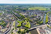Nederland, Noord-Brabant, Den Bosch, 13-05-2019; Citadel van 's-Hertogenbosch, voormalig fort. De rivieren Aa, Dommel, Dieze en de Zuid-Willemsvaart komen rond het bastion samen. Rechts aan de horizon Bossche Broek.<br /> Citadel of 's-Hertogenbosch, former fort, confluence of rivers en canal.<br /> <br /> luchtfoto (toeslag op standard tarieven);<br /> aerial photo (additional fee required);<br /> copyright foto/photo Siebe Swart