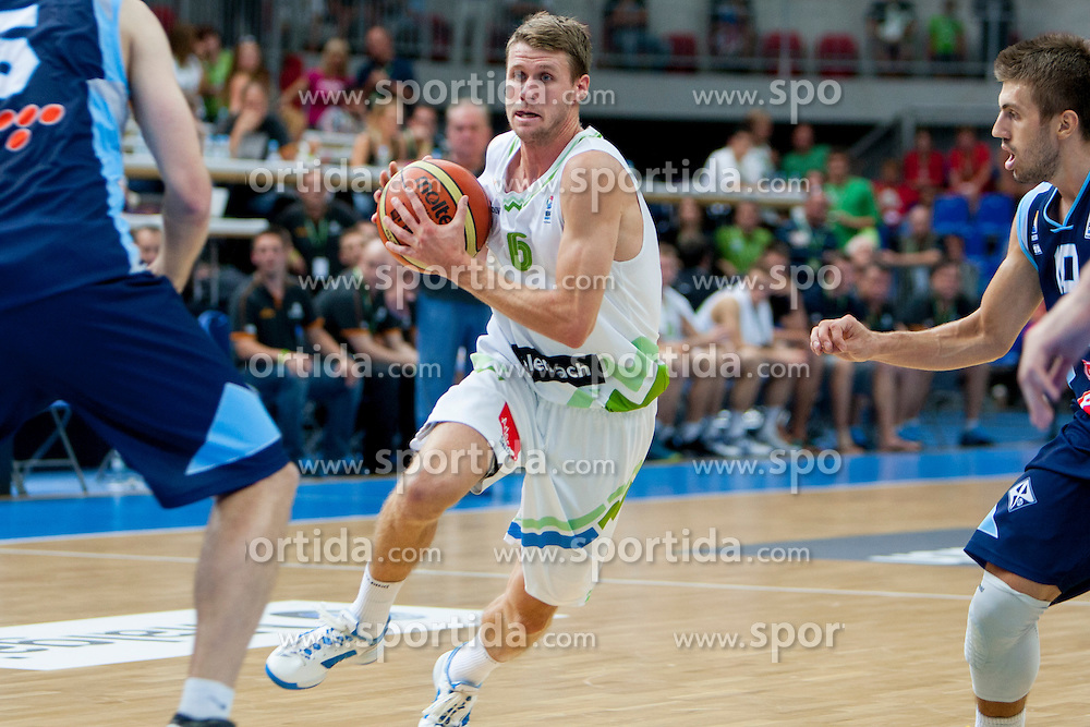 Luka Lapornik of Slovenia during friendly match between National teams of Slovenia and Bosnia and Herzegovina for Eurobasket 2013 on August 16, 2013 in Podmezakla, Jesenice, Slovenia. (Photo by Urban Urbanc / Sportida.com)