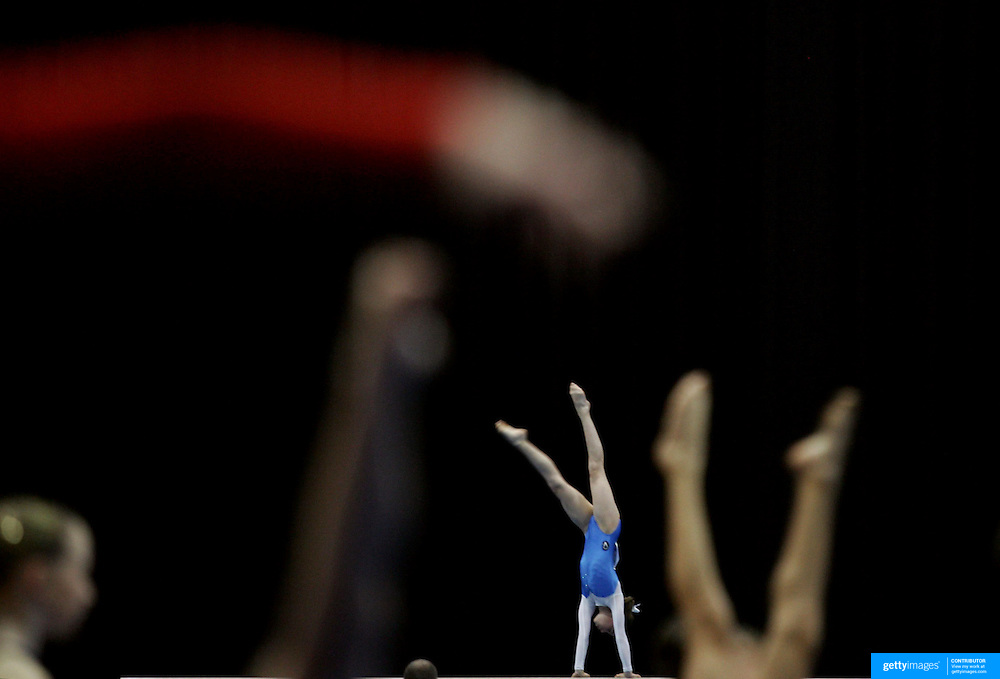 Competitors warm up during the Australian Gymnastics Championships at the Sydney Olympic Park Sports Centre,