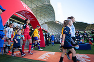MELBOURNE, VIC - MARCH 06: Players are seen walking out prior to the match during The Cup of Nations womens soccer match between Australia and Argentina on March 06, 2019 at AAMI Park, VIC. (Photo by Speed Media/Icon Sportswire)