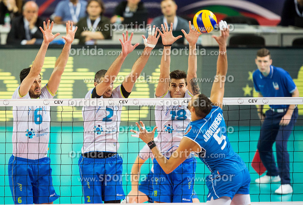 Mitja Gasparini #6 of Slovenia, Alen Pajenk #2 of Slovenia, Klemen Cebulj #18 of Slovenia vs Osmany Juantorena of Italy during volleyball match between National teams of Slovenia and Italy in 1st Semifinal of 2015 CEV Volleyball European Championship - Men, on October 17, 2015 in Arena Armeec, Sofia, Bulgaria. Photo by Vid Ponikvar / Sportida