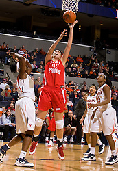 St. Francis (PA) center Janie Killian (45) shoots against UVA.  The #15 ranked Virginia Cavaliers defeated the St. Francis (Pa.) Red Flash 82-66 in NCAA Women's Basketball at the John Paul Jones Arena on the Grounds of the University of Virginia in Charlottesville, VA on January 5, 2009.