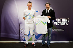 Dare Vrsic and Slavisa Stojanovic during presentation of new home jerseys of Slovenian National Football team, on April 19, 2012 in Citypark, Ljubljana, Slovenia.  (Photo by Vid Ponikvar / Sportida.com)