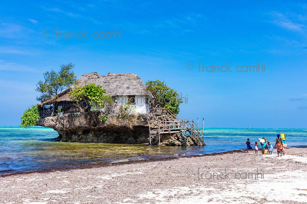 Pingwe , Zanzibar-March 7, 2019 : the Rock famous amazing location restaurant on the beach