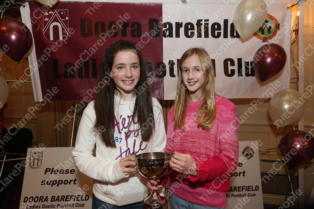 Kiera McGrath and Laura McDonnell pictured at the DooraB for the Ladies Football Medal Presentation at the Old Ground Hotel on Saturday.<br /> Pic. Brian Arthur/ Press 22.