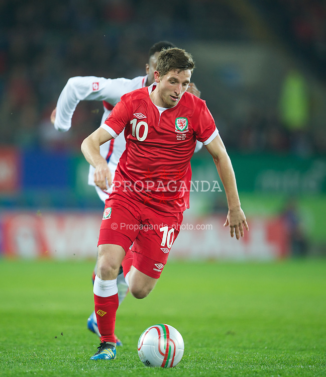 CARDIFF, WALES - Wednesday, February 29, 2012: Wales' Joe Allen in action against Costa Rica during the international friendly match at the Cardiff City Stadium. (Pic by David Rawcliffe/Propaganda)
