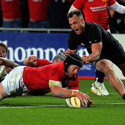 Sean O'Brien scores during the 2017 DHL Lions Series rugby union match between the NZ All Blacks and British & Irish Lions at Eden Park in Auckland, New Zealand on Saturday, 24 June 2017. Photo: Dave Lintott / lintottphoto.co.nz