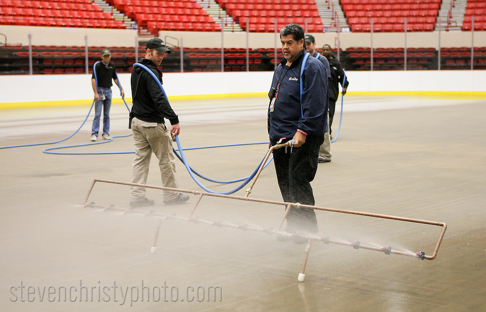 September 16, 2013: The ice is installed in the Cox Convention Center in preparation for the Oklahoma City Barons 2013-2014 season.