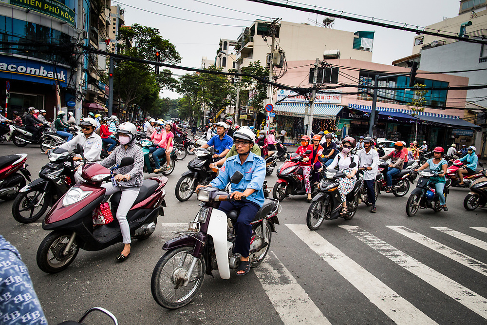 Motorbikes during morning rush hour in Saigon, Vietnam.