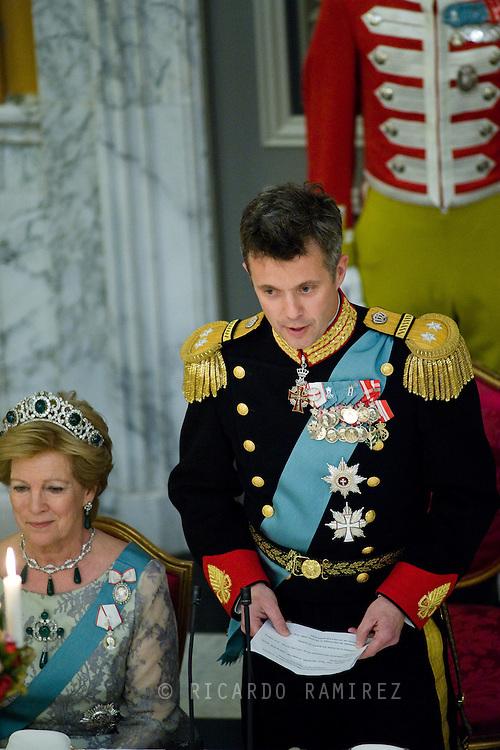 15.04.2015. Copenhagen, Denmark.Crown Prince Frederik during his speech in commemoration of The 75th Birthday of Queen Margrethe of Denmark at Christiansborg Palace.Photo:© Ricardo Ramirez