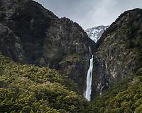 Devil's Punchball waterfall (131m), Arthur's Pass, South Island, New Zealand.