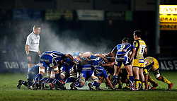 Steam rises into the air as Newport Gwent Dragons and Worcester Warriors scrum - Mandatory by-line: Robbie Stephenson/JMP - 16/12/2016 - RUGBY - Rodney Parade - Newport, Wales - Newport Gwent Dragons v Worcester Warriors - European Rugby Challenge Cup