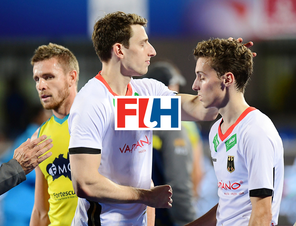 Odisha Men's Hockey World League Final Bhubaneswar 2017<br /> Match id:20<br /> Australia v Germany<br /> Foto: Australia wins the Semi Final against Germany.<br /> keeper Mark Appel (Ger) and Johannes Grosse (Ger) <br /> COPYRIGHT WORLDSPORTPICS FRANK UIJLENBROEK