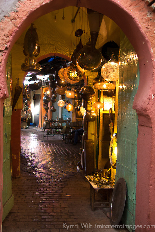 Africa, Morocco, Marrakech. Moroccan Lamps in Souks of Marrakech.