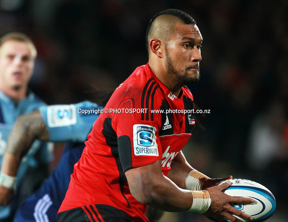 Robbie Fruean with the ball for the Crusaders. Super Rugby game between the Crusaders and the Blues. The new AMI Christchurch Stadium at Rugby League Park, Saturday 19 May 2012. Photo : Joseph Johnson / photosport.co.nz