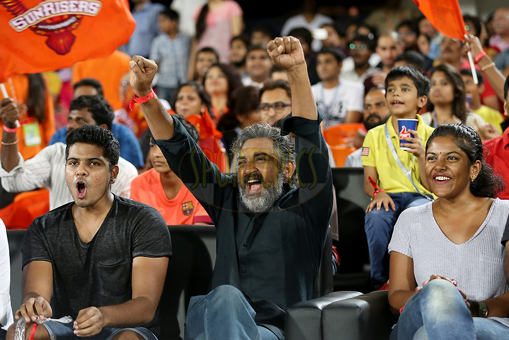 Telugu film Director Rajamouli (Centre) during match 22 of the Vivo IPL 2016 (Indian Premier League ) between the Sunrisers Hyderabad and the Rising Pune Supergiants held at the Rajiv Gandhi Intl. Cricket Stadium, Hyderabad on the 26th April 2016<br /> <br /> Photo by Faheem Hussain / IPL/ SPORTZPICS