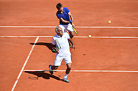 Mansour BAHRAMI / Fabrice SANTORO - 23.05.2015 - Tennis - Journee des enfants - Roland Garros 2015<br /> Photo : David Winter / Icon Sport